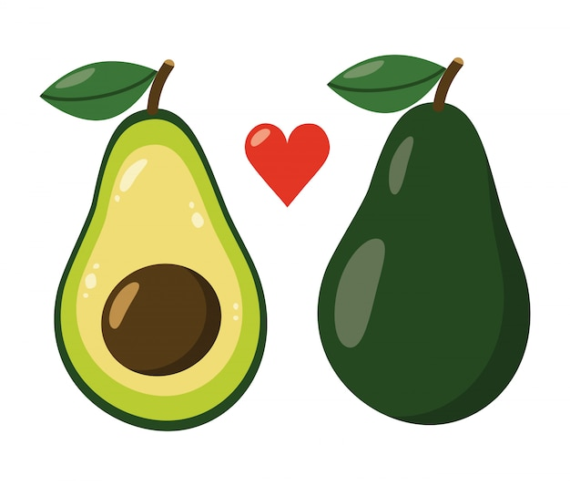 Милый мультфильм авокадо изолированы.