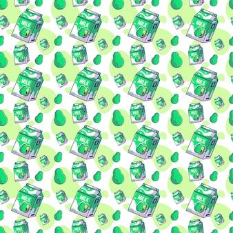 우유 원활한 패턴으로 귀여운 만화 아보카도