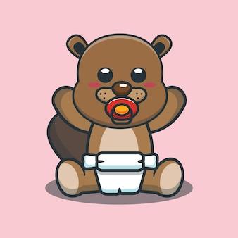 Cute cartoon baby beaver vector illustration
