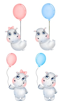 Милый мультфильм мальчик и девочка бегемотов с шарами на белом фоне
