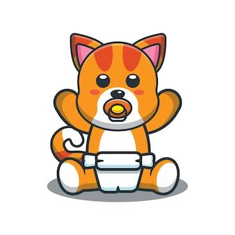 かわいい漫画の赤ちゃん猫のベクトル図