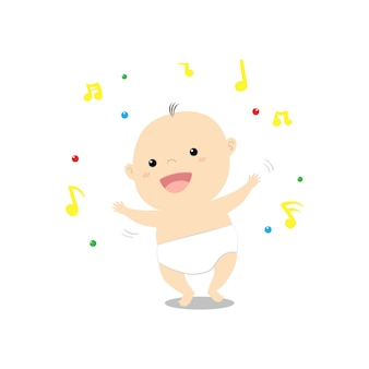 Cute cartoon baby dancing happily music vector illustration