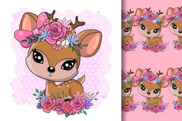꽃과 함께 귀여운 만화 아기 사슴
