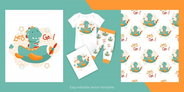 Cute cartoon baby dinosaur flying with plane and seamless pattern design for kids