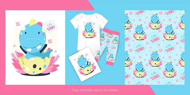 Cute cartoon baby dinosaur and seamless pattern design for kids