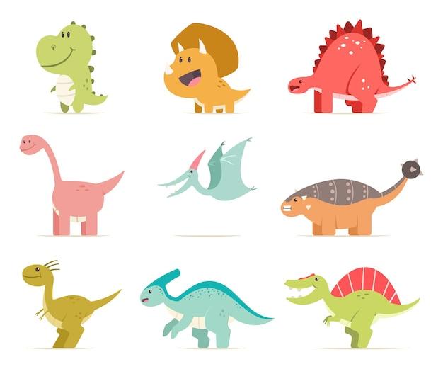 かわいい漫画の赤ちゃん恐竜セット。