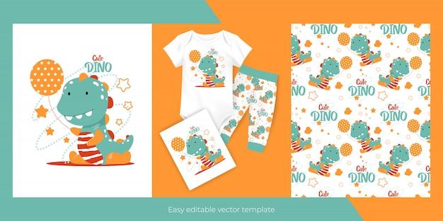 아이들을위한 풍선과 원활한 패턴 디자인과 귀여운 만화 아기 공룡