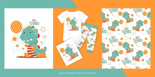 Cute cartoon baby dinosaur with balloon and seamless pattern design for kids