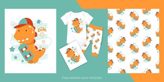 스케이트 보드와 아이들을위한 원활한 패턴 디자인 귀여운 만화 아기 공룡