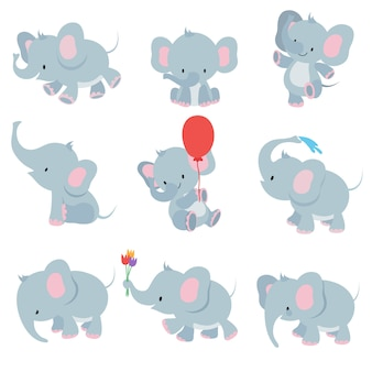 Cute cartoon baby elephants. animals african safari animals  set