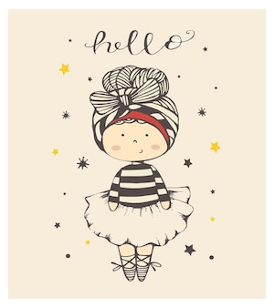 Cute cartoon baby girl ballet dancer hand drawn vector illustration can be used for baby tshirt