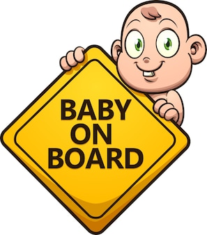 Cute cartoon baby holding a baby on board sign.