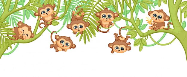 Cute cartoon baby monkeys hanging on jungle tree branches