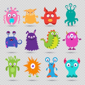 Cute cartoon baby monsters isolated on transparent background