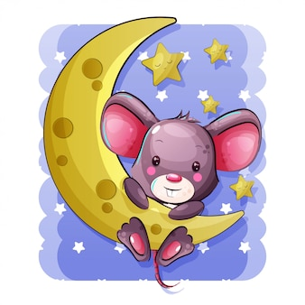 Cute cartoon baby mouse hanging on the moon