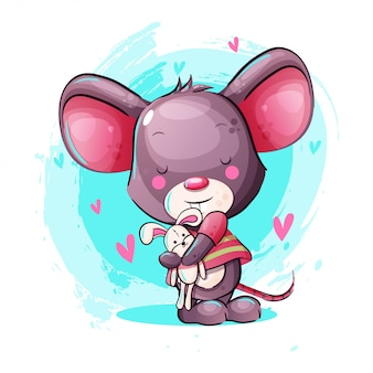 Cute cartoon baby mouse with bunny toy