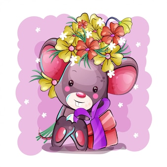 Cute cartoon baby mouse with flowers and gift box