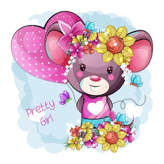 Cute cartoon baby mouse with flowers