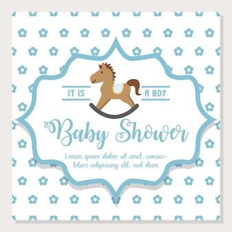 Cute cartoon baby shower and new born invitation card