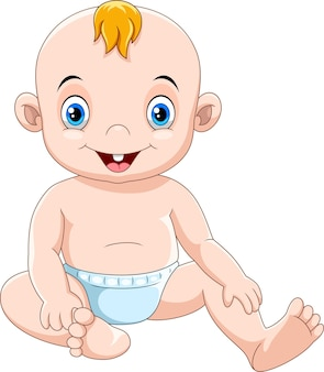 Cute cartoon baby sitting and smiling