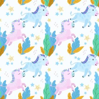 Cute cartoon baby unicorn seamless pattern.