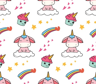 Cute cartoon background suitable for fabric print