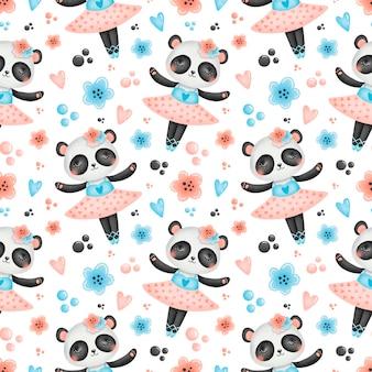 Cute cartoon ballet seamless pattern