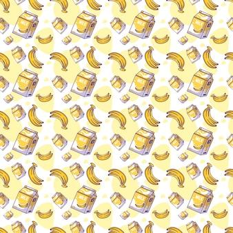 ミルクのシームレスなパターンでかわいい漫画のバナナ