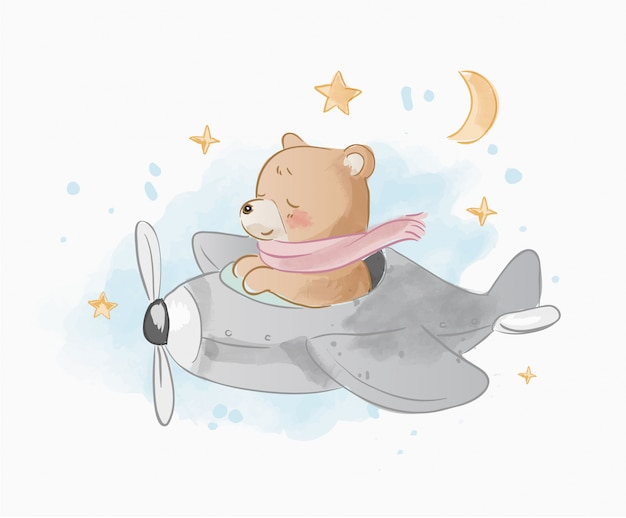 Cute cartoon bear on airplane illustration