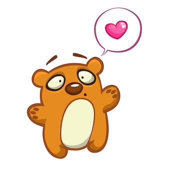 Милый мультипликационный персонаж. иллюстрация медведя, махнув рукой.