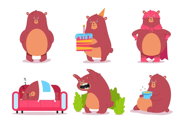 Cute cartoon bear characters set isolated.