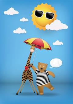 Cute cartoon, bear and giraffe.