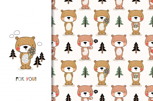 Cute cartoon bear. greeting card and kids seamless pattern set. hand drawn  design illustration.