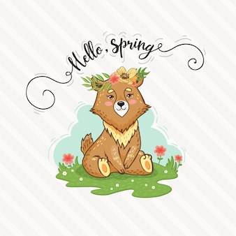 Cute cartoon bear is sitting on the lawn. hello spring