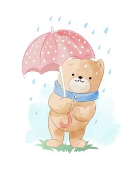 Cute cartoon bear in the rain illustration