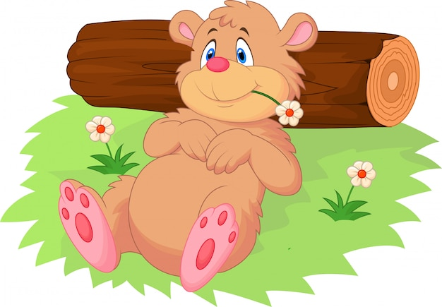 Cute cartoon bear relaxing