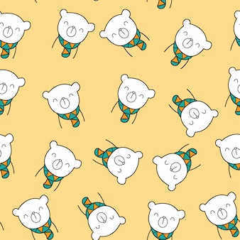 Cute cartoon bear seamless pattern
