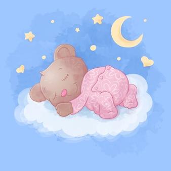 Cute cartoon bear sleeps on a cloud illustration