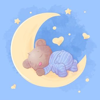 Cute cartoon bear sleeps on the moon in pajamas.  illustration.