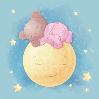 Cute cartoon bear sleeps on the moon