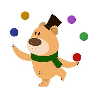 Cute cartoon bear in top hat and green scarf juggling
