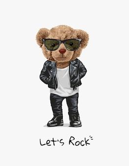 革のジャケットのイラストでかわいい漫画のクマのおもちゃ