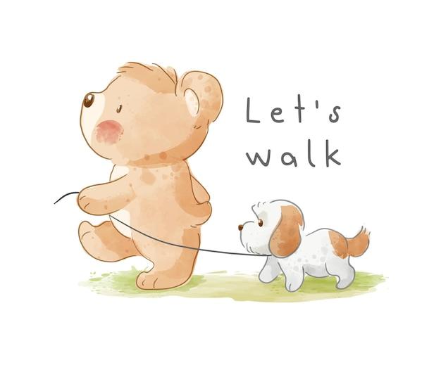 Милый мультфильм медведь гуляет щенок иллюстрации
