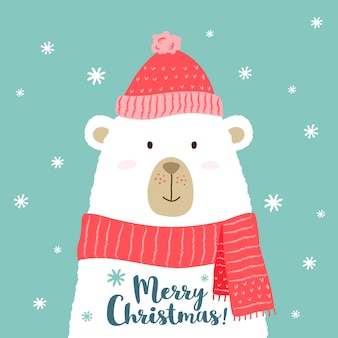 Cute cartoon bear in warm hat and scarf with merry christmas phrase