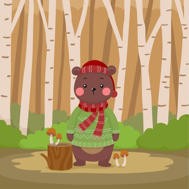 숲 그림에서 스웨터를 입고 귀여운 만화 곰