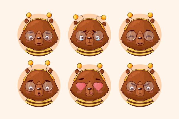 さまざまな感情を持つかわいい漫画のクマ。動物のアバターのセット