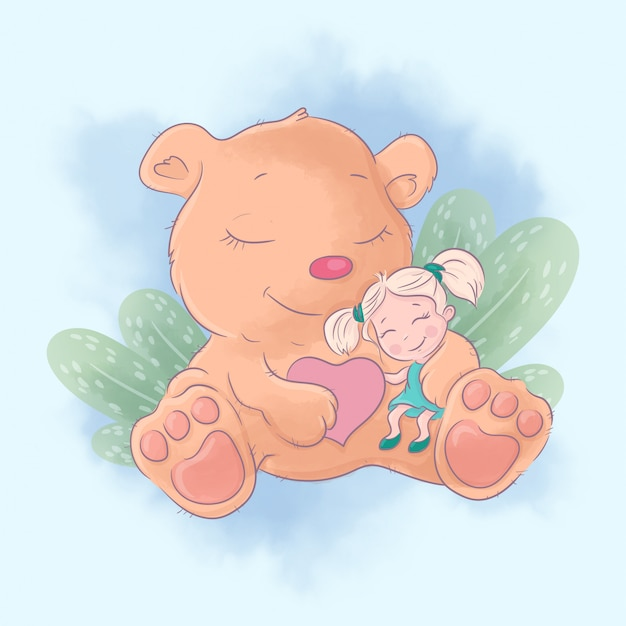 女の子の親友とかわいい漫画のクマ。水彩イラスト
