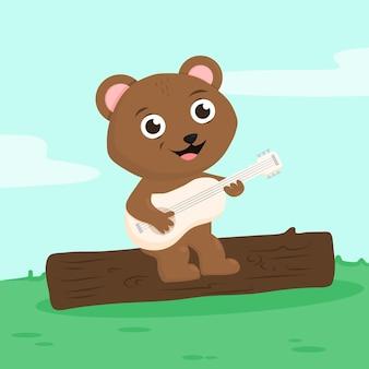 기타와 함께 귀여운 만화 곰