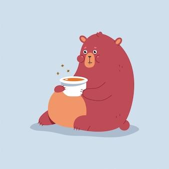 Cute cartoon bear with honey cartoon character isolated