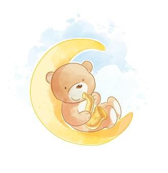 Милый мультяшный медведь с саксофоном на луне векторная иллюстрация